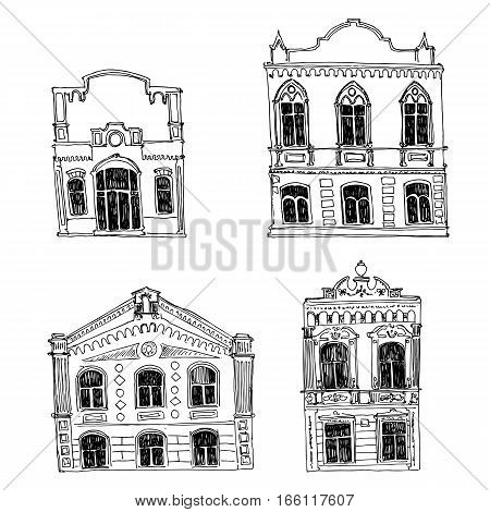 vector set of different houses, line drawing mansions, sketch of buildings, urban elements