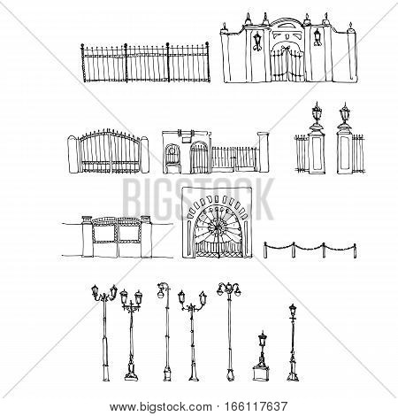 vector set of different lampposts , fences and collars, line drawing street objects , sketch of urban elements