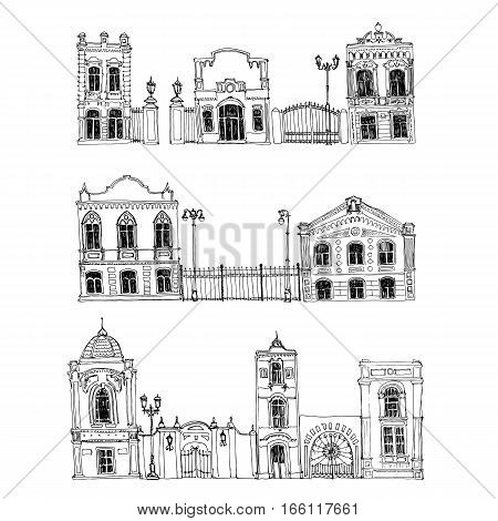 vector set of different houses, line drawing mansions with fences, sketch of buildings, urban elements, city streets