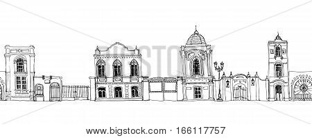 seamless pattern with different houses, background with line drawing mansions and fences, sketch of buildings, urban border, city streets ornament