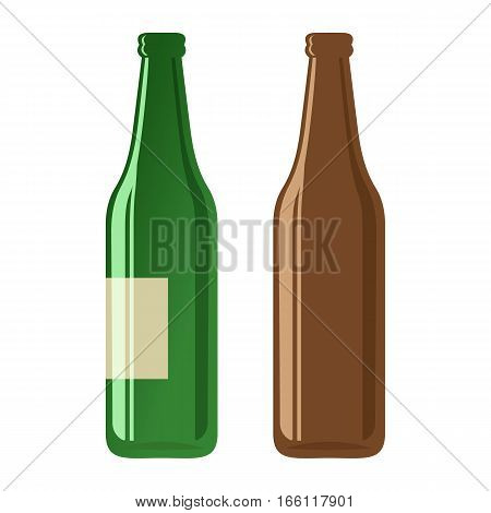 Cartoon illustration of beer bottles on a white background. Vector.