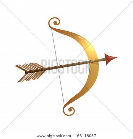 Colorful cartoon illustration of Cupid bow and arrow symbol of love and Valentine's Day. Vector.