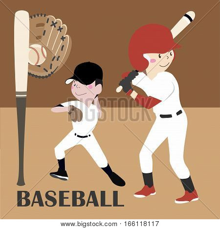 Vector Illustration Baseball Player cartoon flat collection job