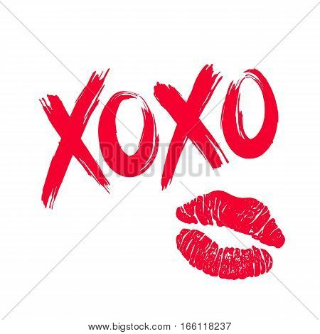 XOXO hugs and kisses brush lettering and lipstick kiss on a white background. Vector.