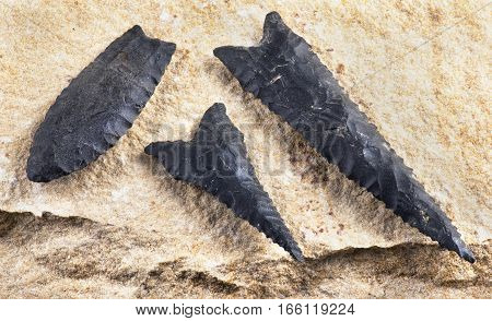 Paleo dalton serrated arrowheads made 8000 to 9000 years ago found near Benton Arkansas.