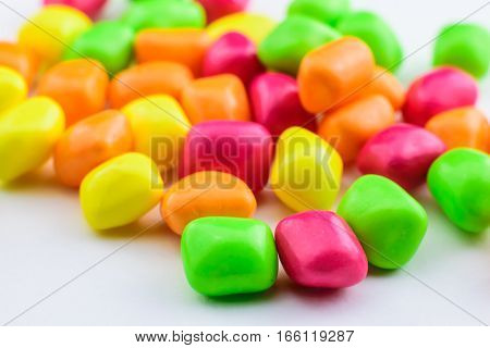 color candy on a table background from color candy