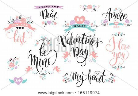 Happy Valentines Day. Set of hand drawn inscriptions. Modern calligraphy and lettering. Vector design element for card, poster, flyer, banner, web and other users