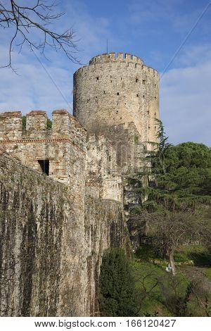 View of the old tower Saraji Pasha of the fortress Rumeli, Sunny day. Istanbul