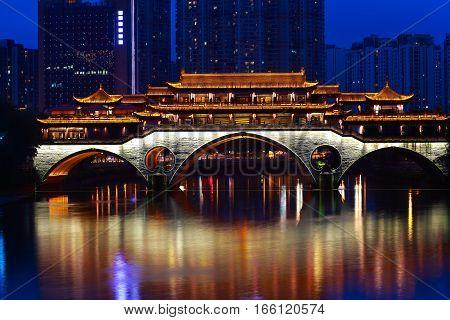 Ancient bridge building of Night in Chengdu China