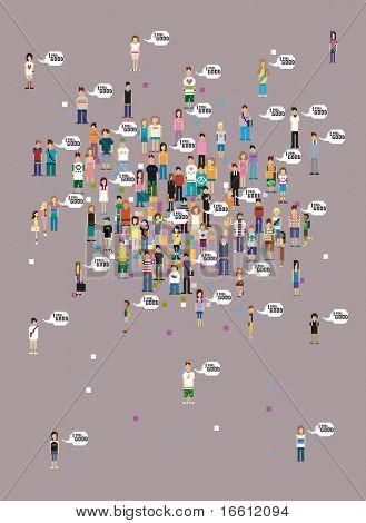 feel good pixel art people wallpaper