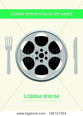 Movie film reel and filmstrip with spoon and fork vintage poster background vector illustration