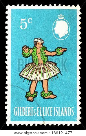 GILBERT AND ELLICE ISLANDS - CIRCA 1965 : Cancelled postage stamp printed by Gilbert and Ellice Islands, that shows Kosu Dance.