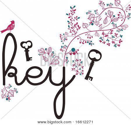key text and bone wallpaper design