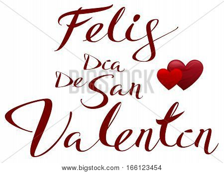 Happy Valentines translated from Spanish. Feliz dia de san Valentin. Vector illustration lettering text for greeting card