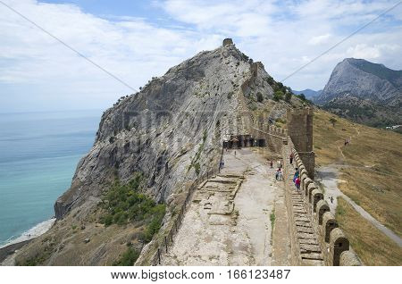 View of the ramparts of the Consular castle. Genoese fortress in Sudak, Crimea