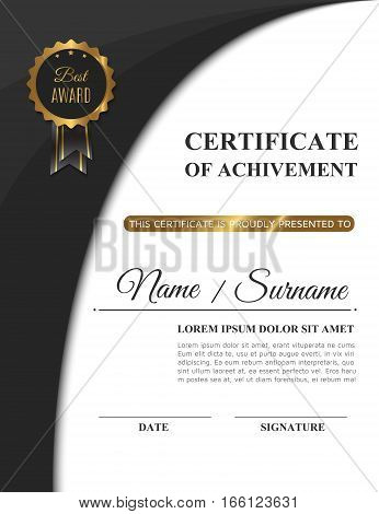Beautiful golden certificate of achivement template or matte black diploma blank. Vector illustration eps10