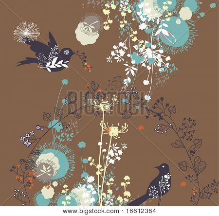 cute and sweet floral birds wallpaper poster