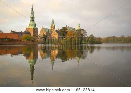 The old Frederiksborg castle, November evening. Denmark