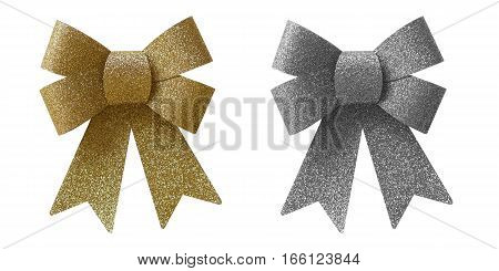 Gold and silver glitter bows isolated on white background