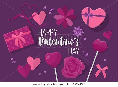 Valentines Day Creative Banner Design In Flat Modern Style. Paper Cut Heart Shapes And Gift Boxes Fr