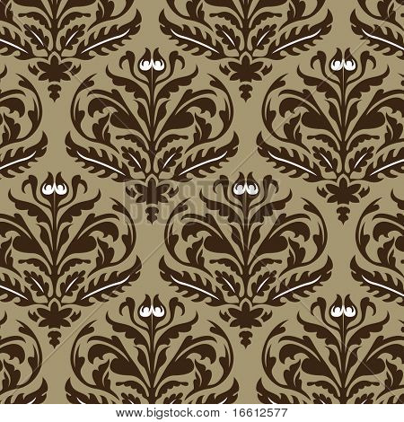 aged brown floral graphic wallpaper design