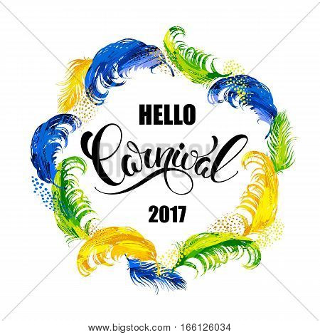Carnival. lettering design with feather frame. Vector illustration
