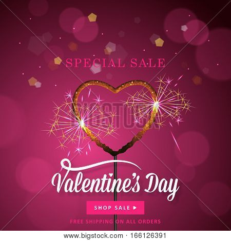 Valentines Day Banner Design With Heart Shape Sparkler Over Bokeh Background. Social Media Special S