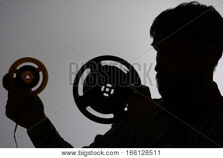 Silhouette Of A Bearded Man Looking