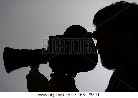 Silhouette Bearded Man Movie Camera