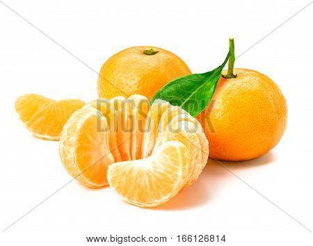 Isolated tangerine or clementine fruit on white background. Macro. slice of mandarin