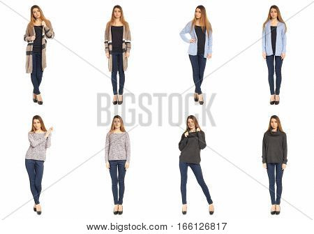 Full length beautiful stylish girls in jeans