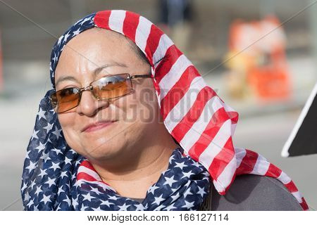 Activist With American Flag