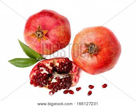 Pomegranate fruit isolated on white background. Fruit. A slice of pomegranate. Top view.