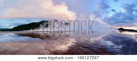 Grand Prismatic Spring at sunset. Midway Geyser Basin. Yellowstone National Park. Jackson Hole. Wyoming. United States.