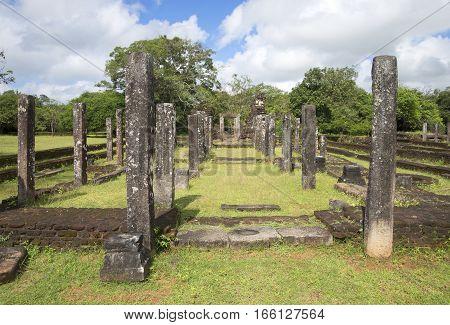 Ruins of a Hindu temple Naypena Vihara in Polonnaruwa. Sri Lanka