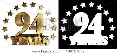 Golden digit ninety four three and the word of the year decorated with stars. 3D illustration