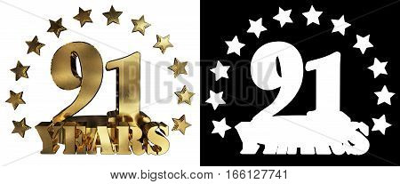 Golden digit ninety one and the word of the year decorated with stars. 3D illustration