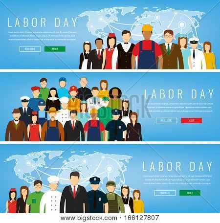 People of different occupations. Professions set. International Labor Day. Concept website template. Vector illustration