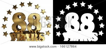 Golden digit eighty eight and the word of the year decorated with stars. 3D illustration