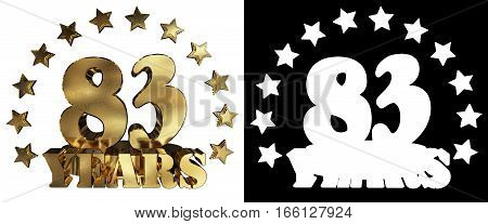 Golden digit eighty three and the word of the year decorated with stars. 3D illustration