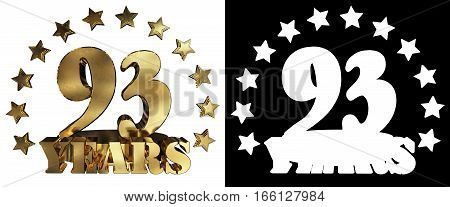 Golden digit ninety three and the word of the year decorated with stars. 3D illustration