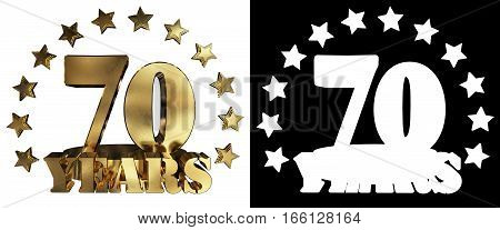 Golden digit seventy and the word of the year decorated with stars. 3D illustration