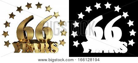 Golden digit sixty six and the word of the year decorated with stars. 3D illustration
