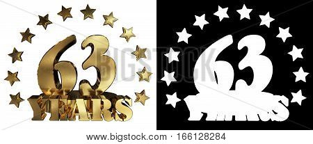 Golden digit sixty three and the word of the year decorated with stars. 3D illustration
