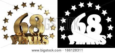 Golden digit sixty eight and the word of the year decorated with stars. 3D illustration