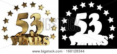 Golden digit fifty three and the word of the year decorated with stars. 3D illustration