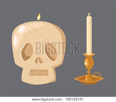 Vector halloween skull ceremony candle with fire illustration. Burning warm glowing shiny collection. Colorful wax bright spirituality relaxation decoration.