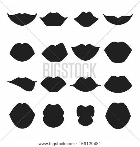 High detailed glossy woman lips silhouette and mouth vector illustration. Valentine human sensuality element. Beautiful love female symbol glamour and shiny design.