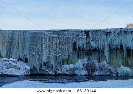 Frozen waterwall Jagal, in the Europe Estonia