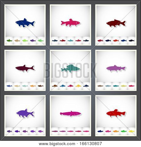 Freshwater fish. A set of flat stickers with shadow on white background. Vector illustration